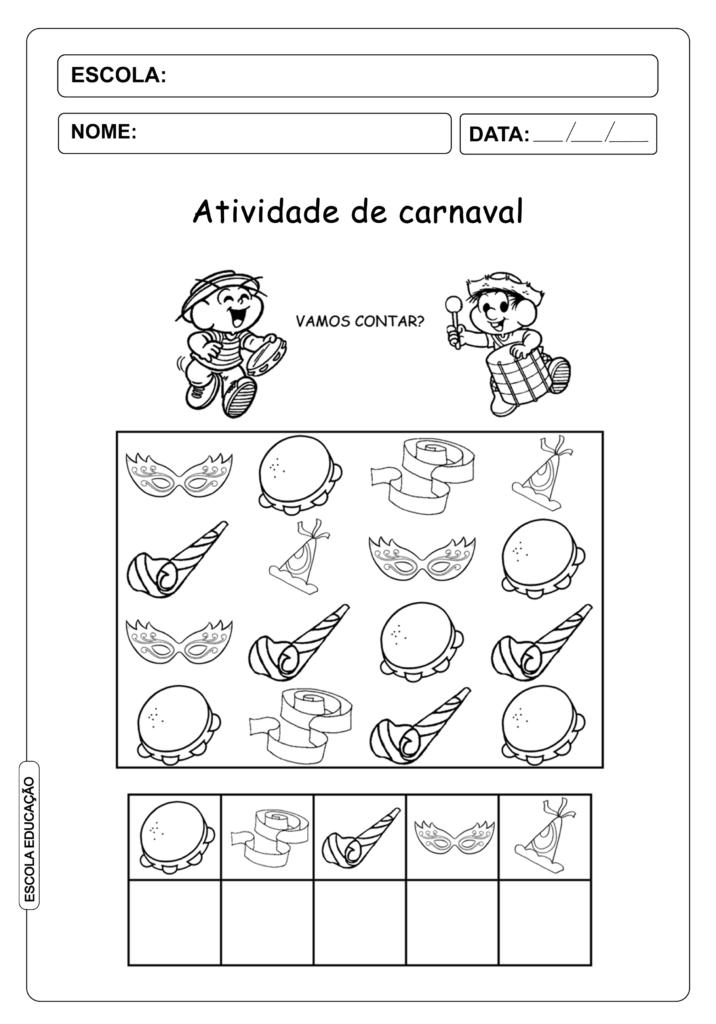 Atividade de Carnaval para imprimir e colorir