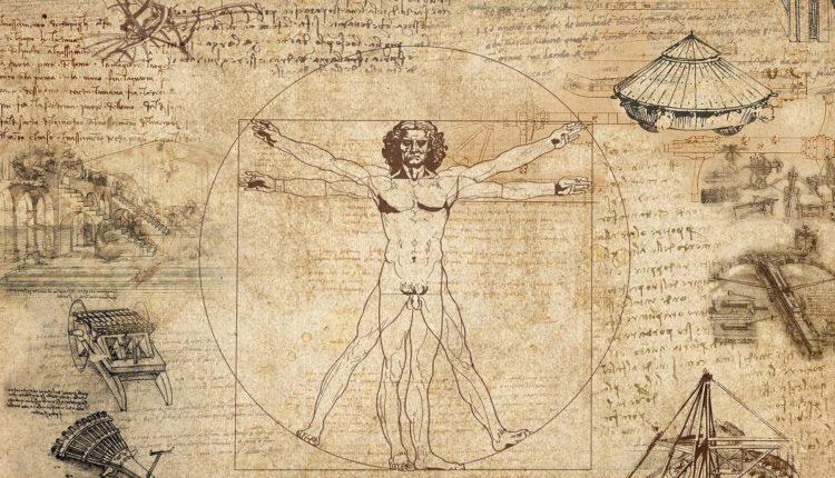 Homem Vitruviano (desenhado por Leonardo da Vinci) - Retrata a perfeição das proporções do corpo humano. Essa imagem representa a valorização do ser homem no período do Renascimento.