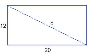 encontrando a diagonal-teorema de pitágoras