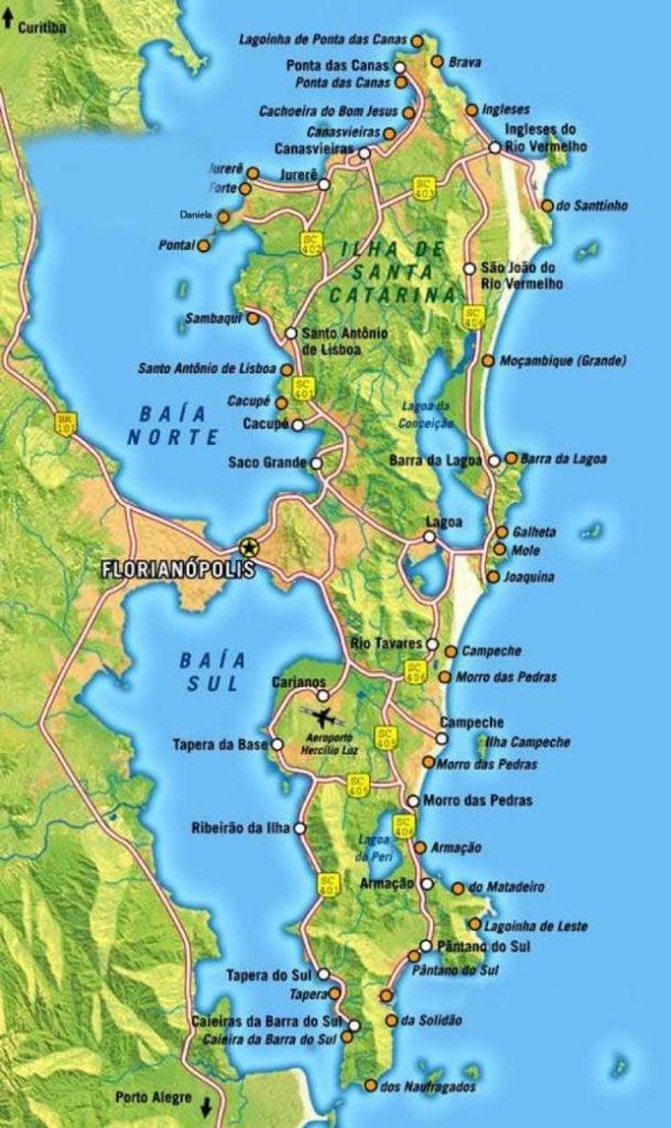 Mapa das praias de Santa Catarina