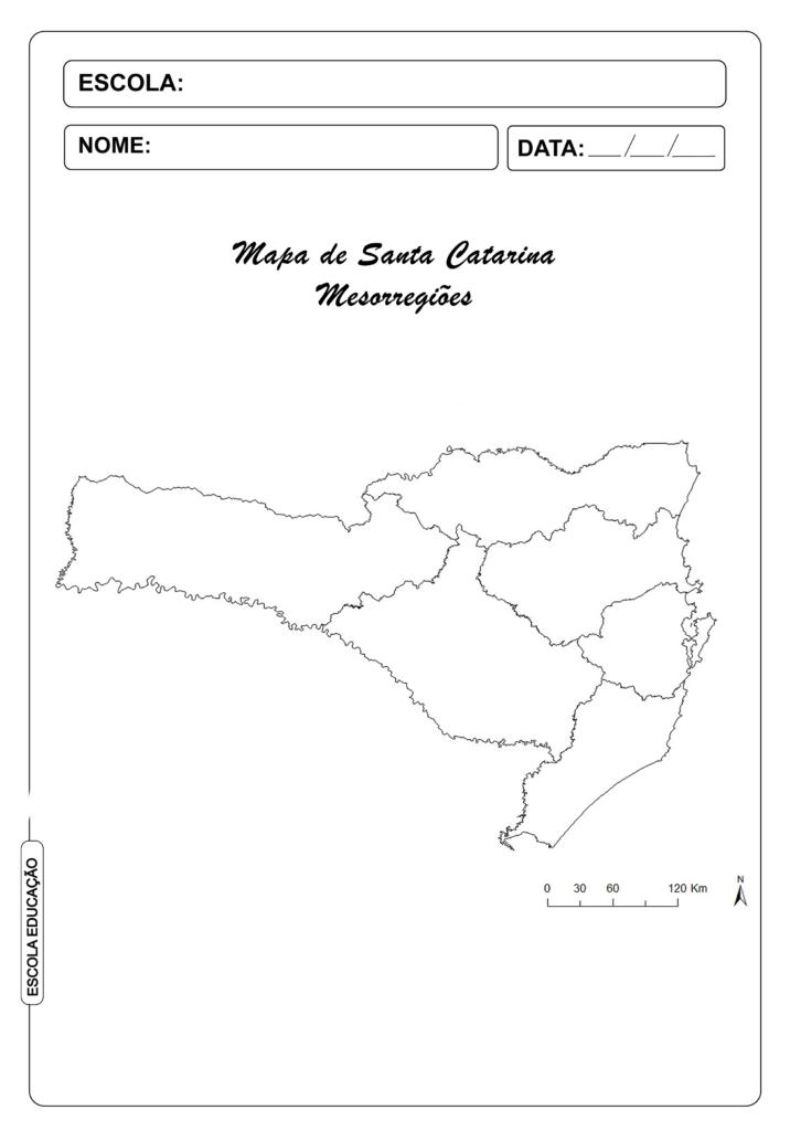 Mapa de Santa Catarina para colorir