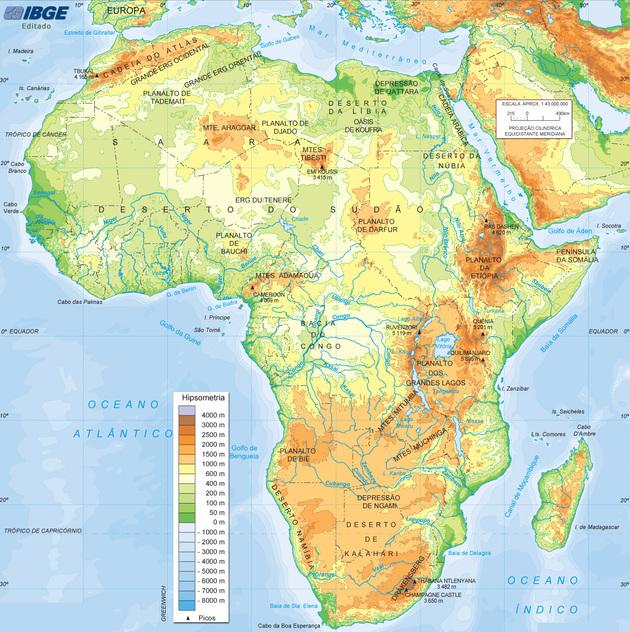 Mapa físico da África