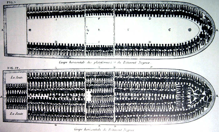 O interior de um navio negreiro