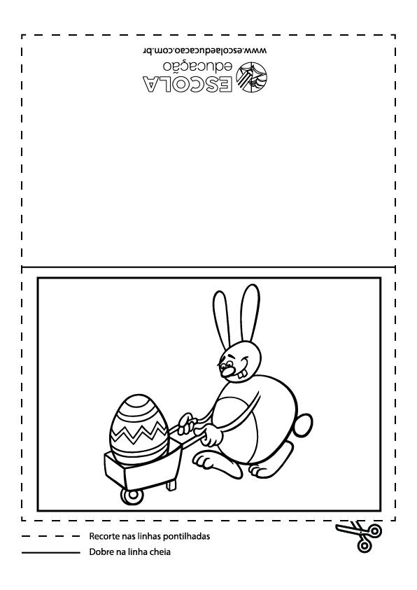 Cartão de páscoa para colorir