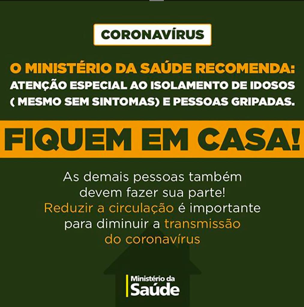 Coronavírus - Cartaz informativo publicado nas redes sociais pelo Ministério da Saúde.