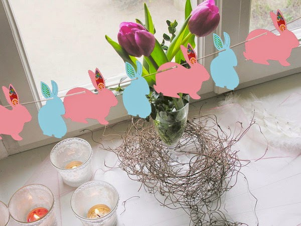 Ideias de decoração de páscoa - Coelhos de papel