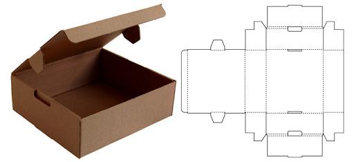 Caixa de papelão, exemplo de planificação