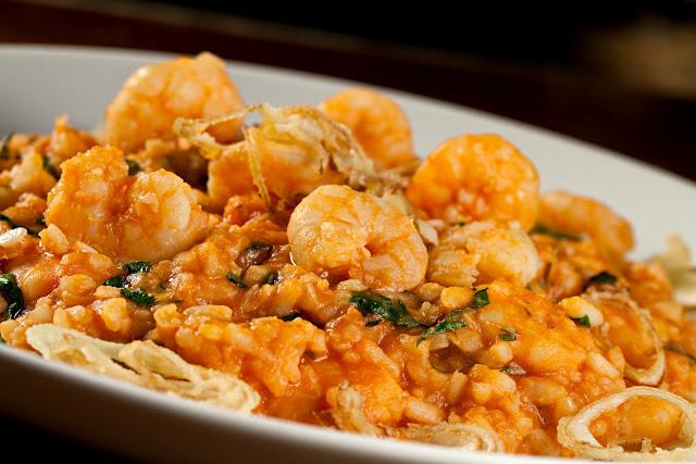 Ideias de almoço para a páscoa - risoto de camarão