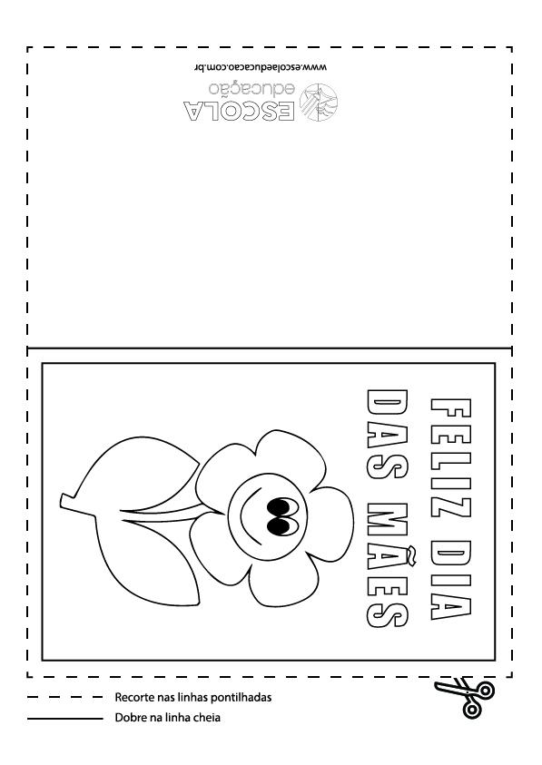 Cartão Dia das Mães para imprimir e colorir