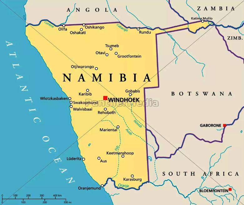 Namíbia mapa