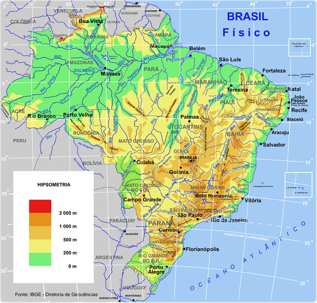 Tipos de mapas - Mapa físico