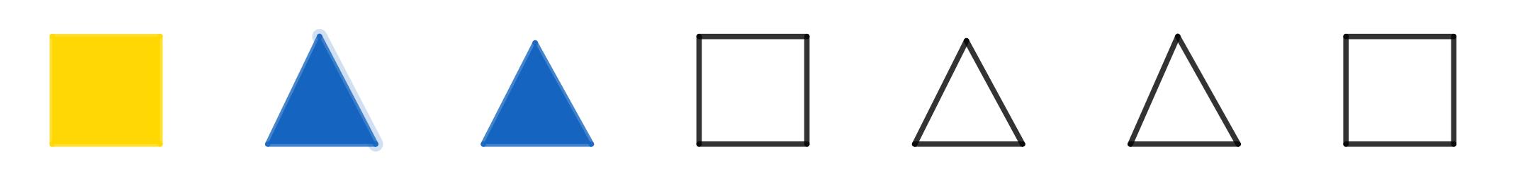 Sequência de formas geométricas e cores