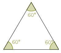 Ângulos internos de um triângulo equilátero