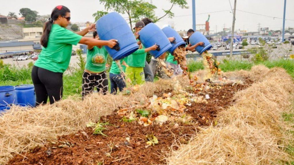 Destino do lixo - Compostagem sendo realizada em Florianópolis.