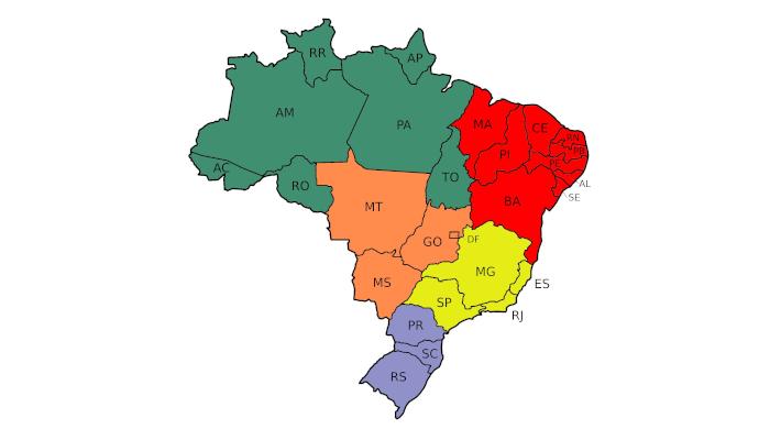 Exercícios sobre a regionalização do território brasileiro