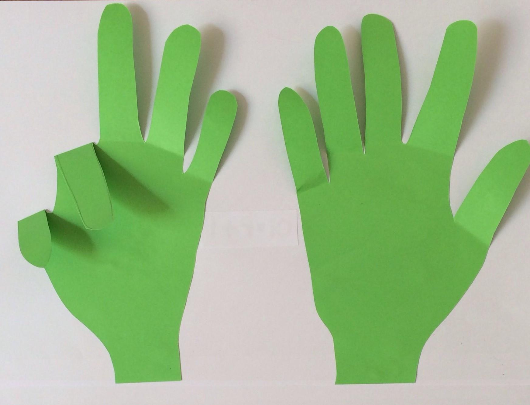 Mãos de papel para ensinar a subtração.