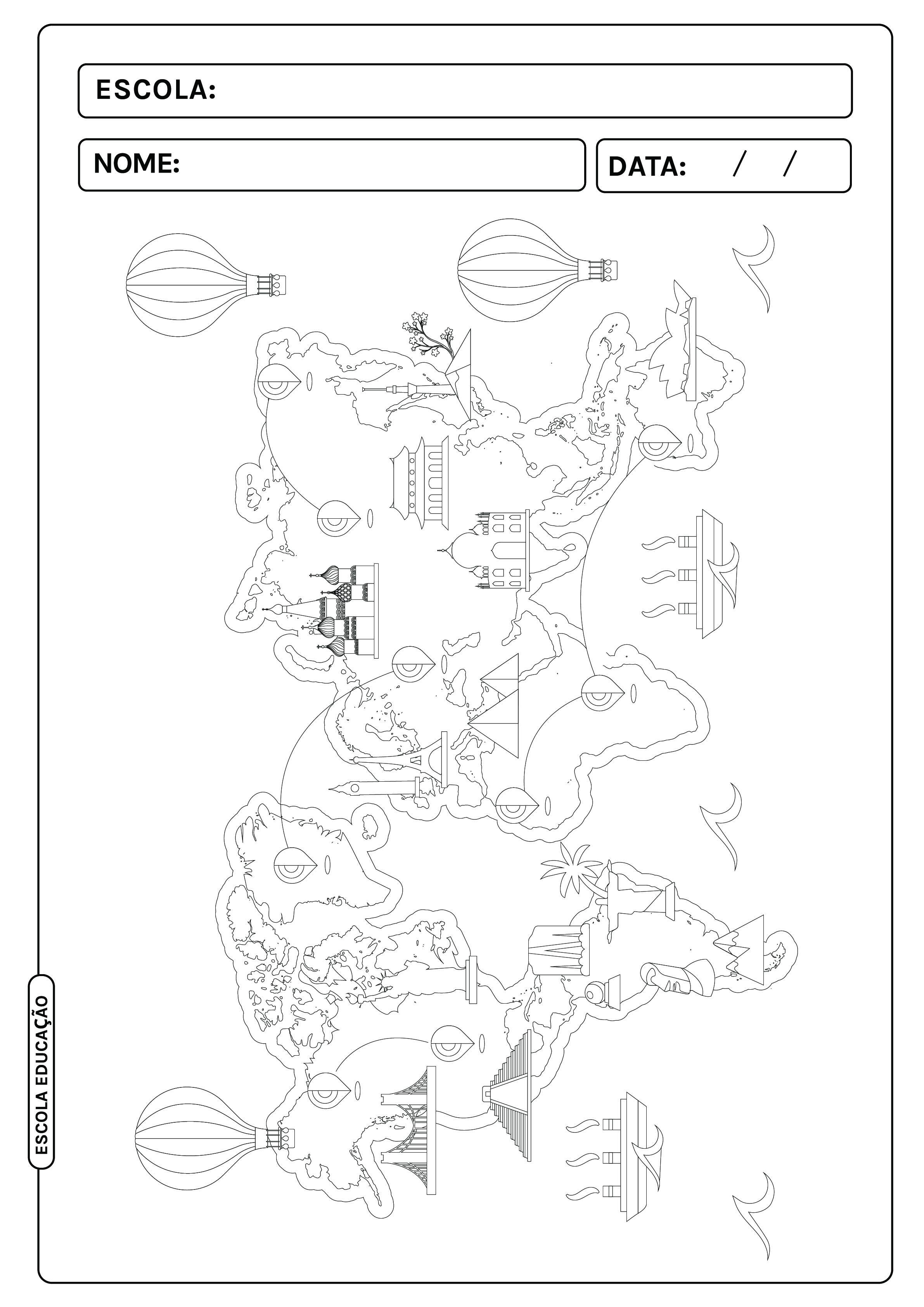 Mapa-múndi para colorir