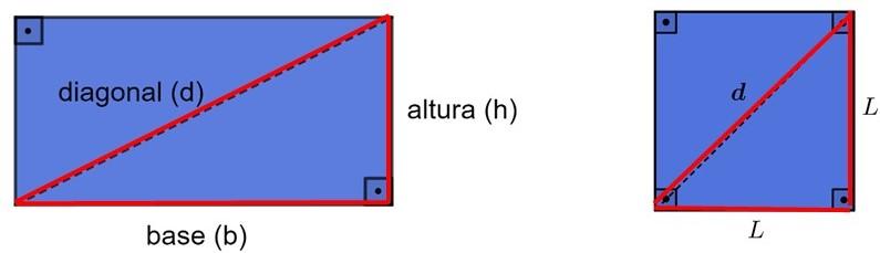 Diagonal do quadrado e do retângulo