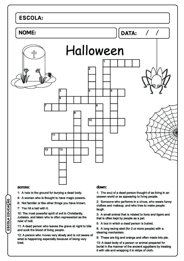 Atividades de Halloween em inglês