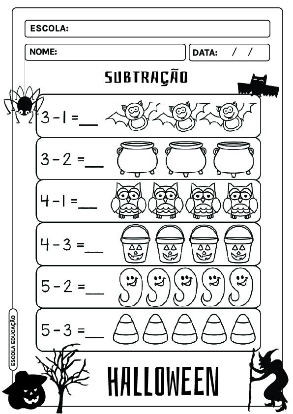 Atividades de matemática - Halloween