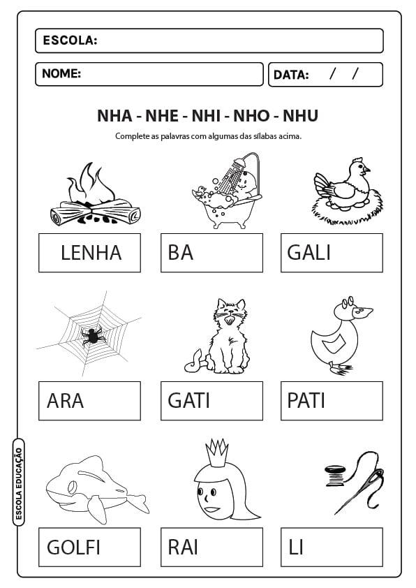 Atividades com sílabas complexas