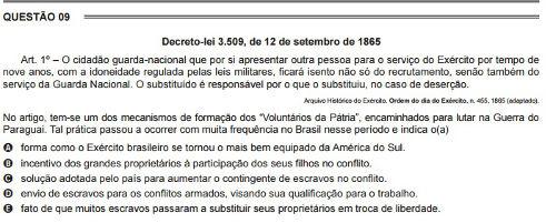 Brasil Império nas questões do Enem