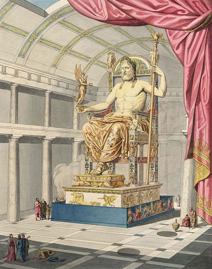 Estátua de Zeus em Olímpia, uma das Sete Maravilhas do Mundo Antigo